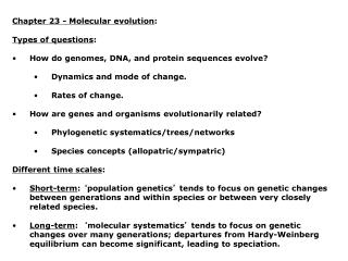 Chapter 23 - Molecular evolution : Types of questions :