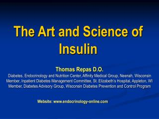The Art and Science of Insulin