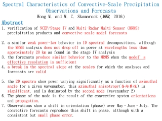 Spectral Characteristics of Convective-Scale Precipitation Observations and Forecasts