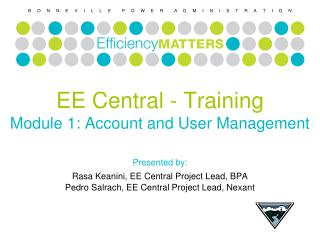 EE Central - Training Module 1: Account and User Management