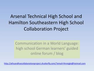 Arsenal Technical High School and Hamilton Southeastern High School Collaboration Project