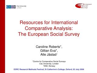 Resources for International Comparative Analysis: The European Social Survey
