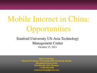 Mobile Internet in China: Opportunities