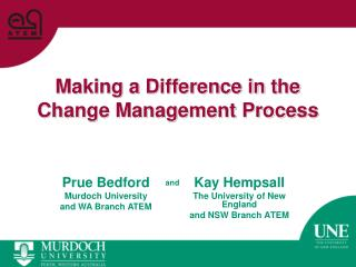 Making a Difference in the Change Management Process