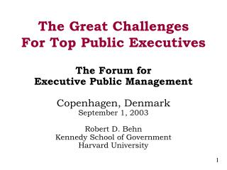 The Great Challenges For Top Public Executives