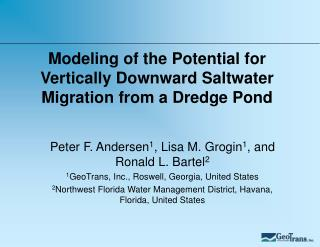 Modeling of the Potential for Vertically Downward Saltwater Migration from a Dredge Pond