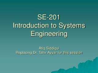 SE 201: Introduction