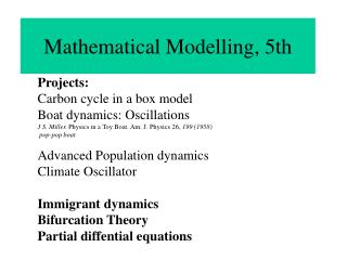Mathematical Modelling, 5th