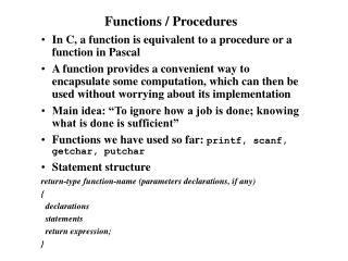 Functions / Procedures