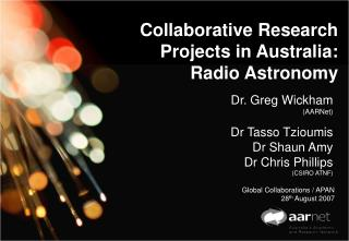 Collaborative Research Projects in Australia: Radio Astronomy