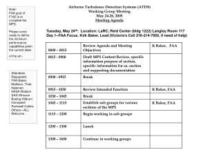 Airborne Turbulence Detection Systems (ATDS) Working Group Meeting May 24-26, 2005 Meeting Agenda