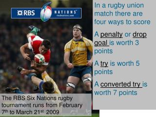 In a rugby union match there are four ways to score A  penalty  or  drop goal  is worth 3 points