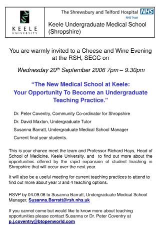 You are warmly invited to a Cheese and Wine Evening  at the RSH, SECC on