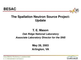 The Spallation Neutron Source Project: Update