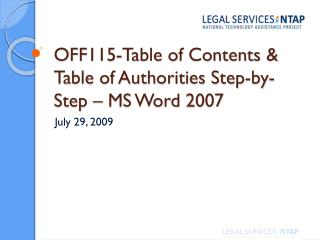 OFF115-Table of Contents & Table of Authorities Step-by-Step – MS Word 2007