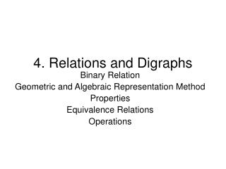 4. Relations and Digraphs
