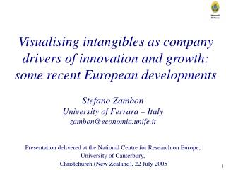 Visualising intangibles as company drivers of innovation and growth: some recent European developments