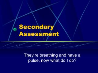 Secondary Assessment