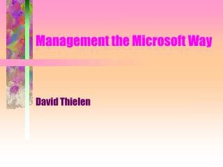 Management the Microsoft Way