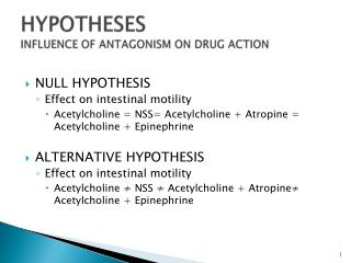 HYPOTHESES INFLUENCE OF ANTAGONISM ON DRUG ACTION