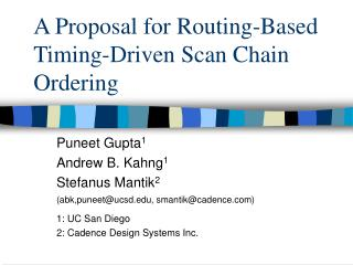 A Proposal for Routing-Based Timing-Driven Scan Chain Ordering