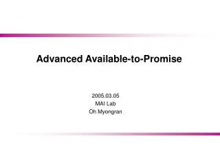 Advanced Available-to-Promise