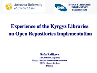 KYRGYZ LIBRARIES INFORMATION CONSORTIUM