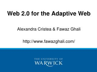 Web 2.0 for the Adaptive Web