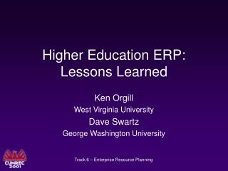 Higher Education ERP: Lessons Learned
