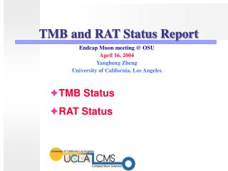 TMB and RAT Status Report