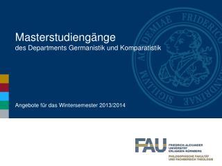 Masterstudiengänge des Departments Germanistik und Komparatistik