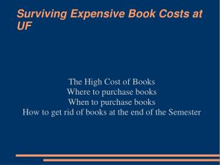 Surviving Expensive Book Costs at UF