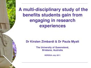 A multi-disciplinary study of the benefits students gain from engaging in research experiences