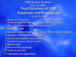 CISM Science Seminar  Oct. 14, 2004