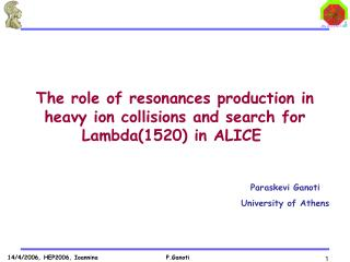 The role of resonances production in  heavy ion collisions and search for  Lambda(1520) in ALICE