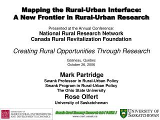 Mapping the Rural-Urban Interface:  A New Frontier in Rural-Urban Research