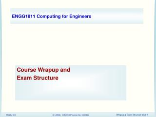 ENGG1811 Computing for Engineers