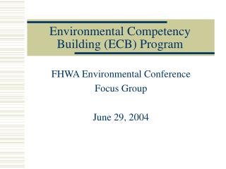 Environmental Competency Building (ECB) Program