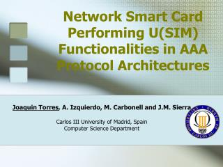 Network Smart Card Performing U(SIM) Functionalities in AAA Protocol Architectures