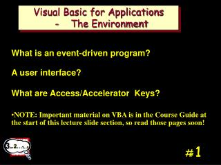 Visual Basic for Applications   -    The Environment