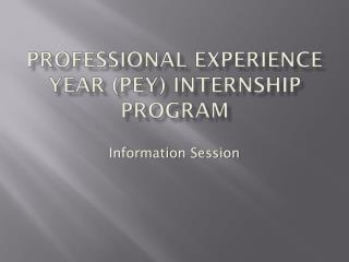 Professional Experience Year (PEY) INTERNSHIP Program