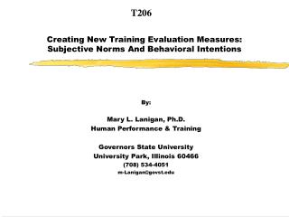 Creating New Training Evaluation Measures:  Subjective Norms And Behavioral Intentions