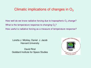 Climatic implications of changes in O 3