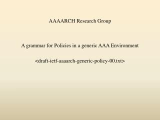 AAAARCH Research Group