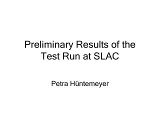 Preliminary Results of the Test Run at SLAC