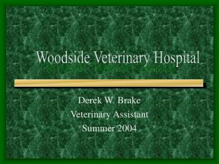 Derek W. Brake  Veterinary Assistant Summer 2004