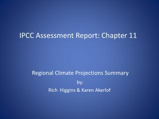 IPCC Assessment Report: Chapter 11
