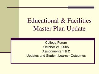 Educational & Facilities Master Plan Update