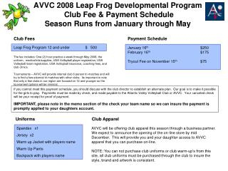 Leap Frog Program 12 and under	   $   500