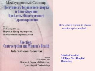 How to help women to choose     a contraceptive method